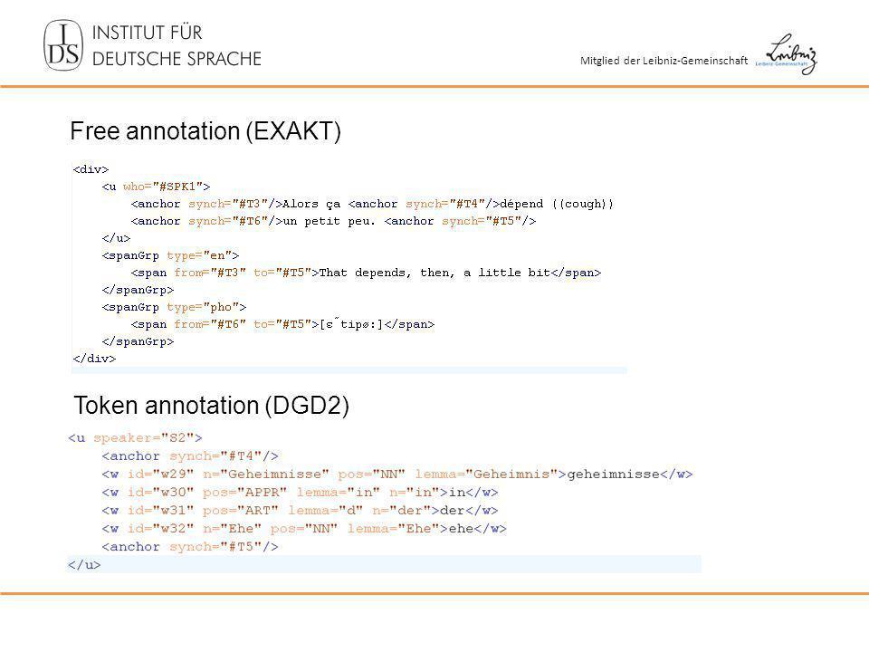 Mitglied der Leibniz-Gemeinschaft Free annotation (EXAKT) Token annotation (DGD2)