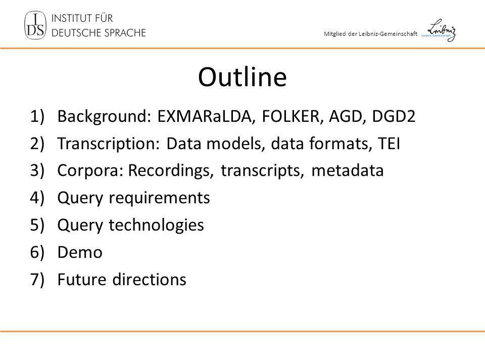 Mitglied der Leibniz-Gemeinschaft Outline 1)Background: EXMARaLDA, FOLKER, AGD, DGD2 2)Transcription: Data models, data formats, TEI 3)Corpora: Record