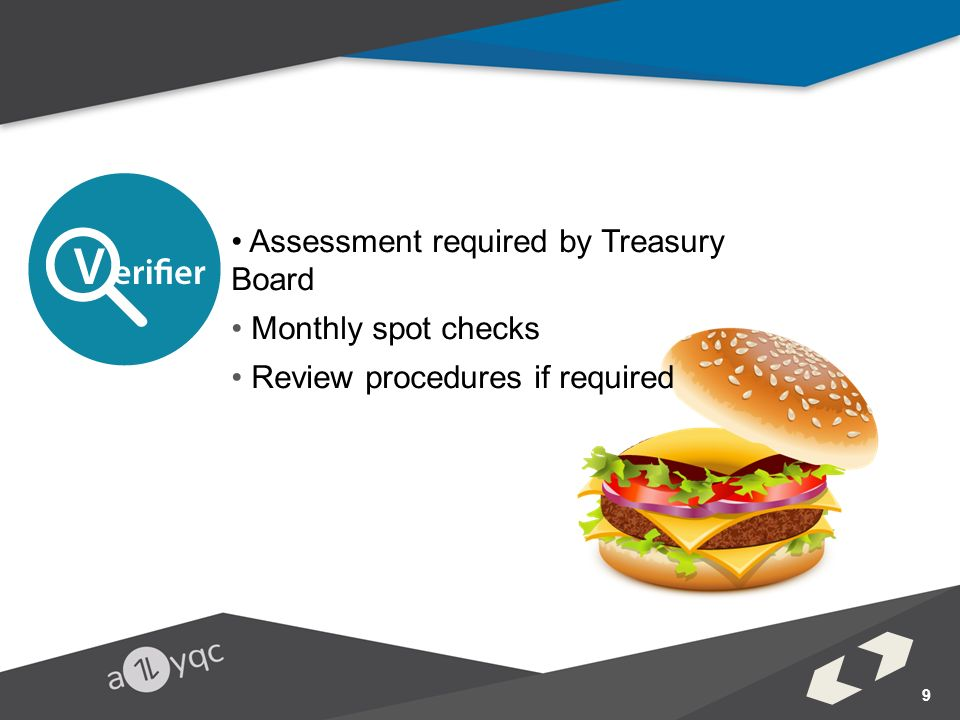 Assessment required by Treasury Board Monthly spot checks Review procedures if required 9