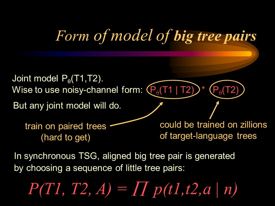 could be trained on zillions of target-language trees train on paired trees (hard to get) Form of model of big tree pairs Wise to use noisy-channel form: P (T1 | T2) * P (T2) But any joint model will do.