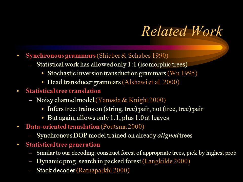 Related Work Synchronous grammars (Shieber & Schabes 1990) –Statistical work has allowed only 1:1 (isomorphic trees) Stochastic inversion transduction grammars (Wu 1995) Head transducer grammars (Alshawi et al.