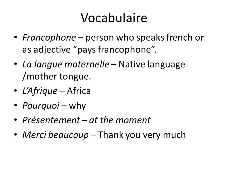 Vocabulaire Francophone – person who speaks french or as adjective pays francophone. La langue maternelle – Native language /mother tongue. LAfrique –