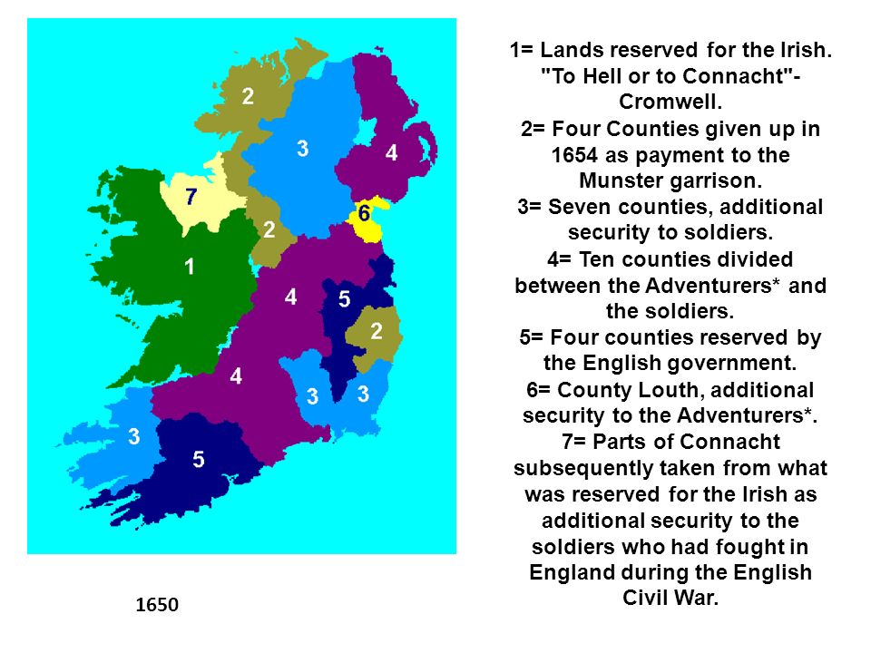 1= Lands reserved for the Irish. To Hell or to Connacht - Cromwell.