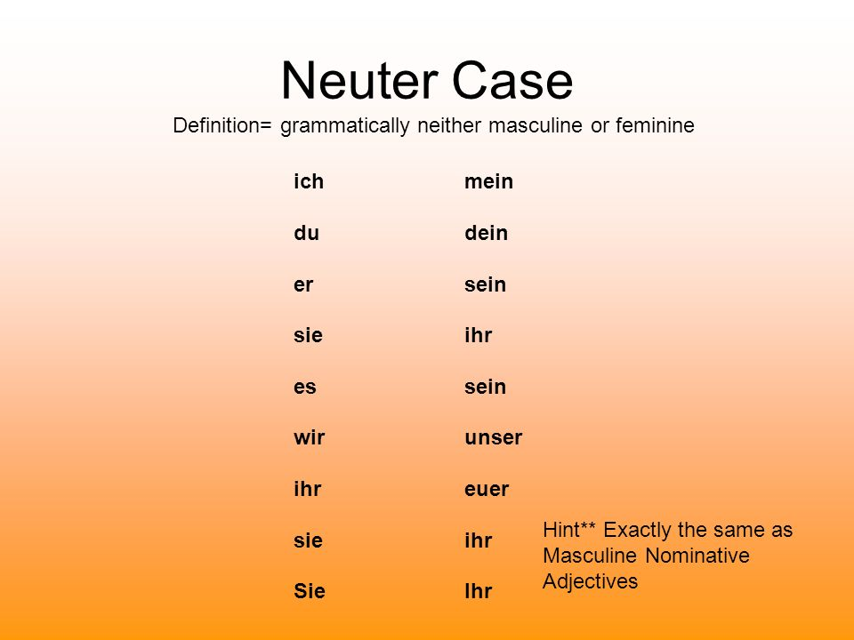 Neuter Case Definition= grammatically neither masculine or feminine ichmein du dein ersein sieihr essein wir unser ihreuer sieihr SieIhr Hint** Exactl