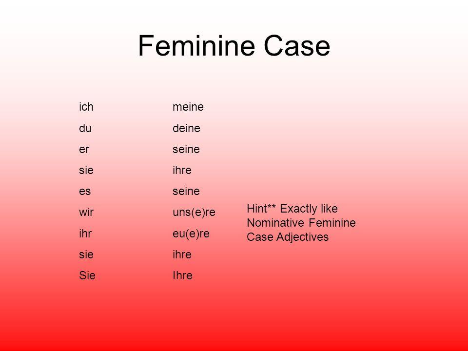Feminine Case ich meine dudeine erseine sieihre esseine wiruns(e)re ihreu(e)re sieihre SieIhre Hint** Exactly like Nominative Feminine Case Adjectives