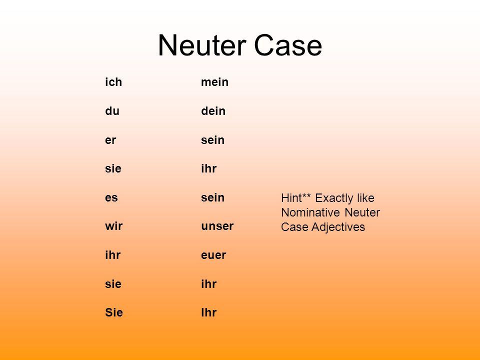 Neuter Case ichmein du dein ersein sieihr essein wir unser ihreuer sieihr SieIhr Hint** Exactly like Nominative Neuter Case Adjectives