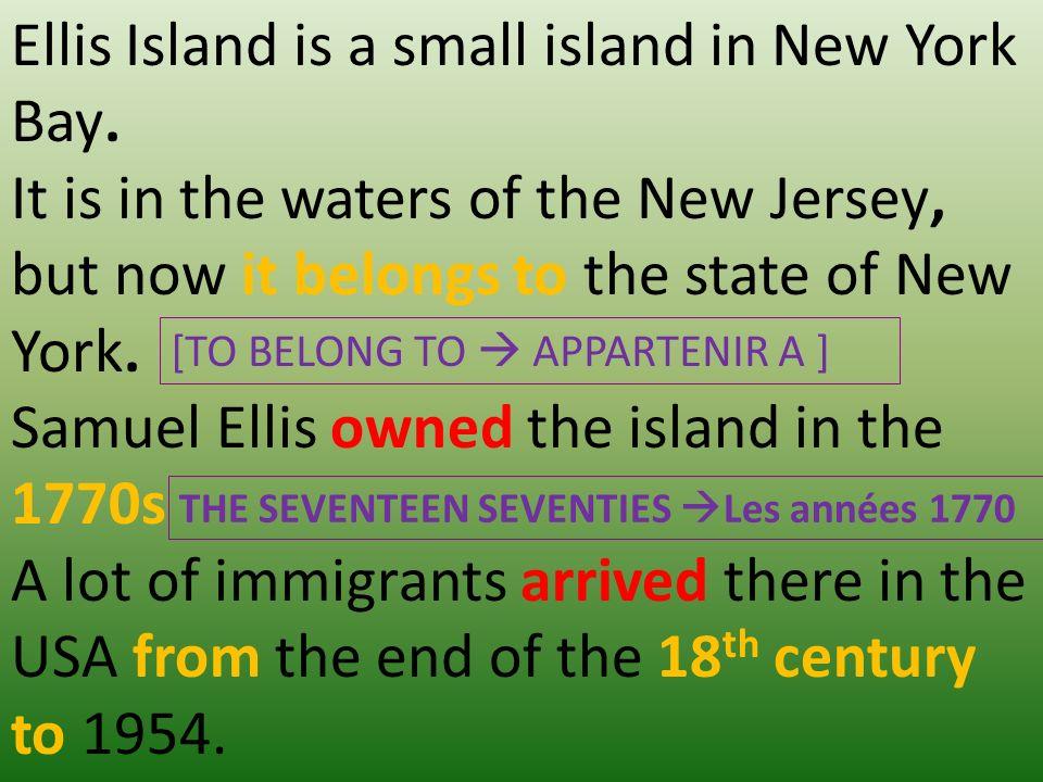 Ellis Island is a small island in New York Bay.