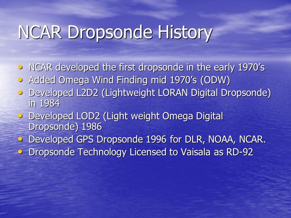NCAR Dropsonde History NCAR developed the first dropsonde in the early 1970s NCAR developed the first dropsonde in the early 1970s Added Omega Wind Fi
