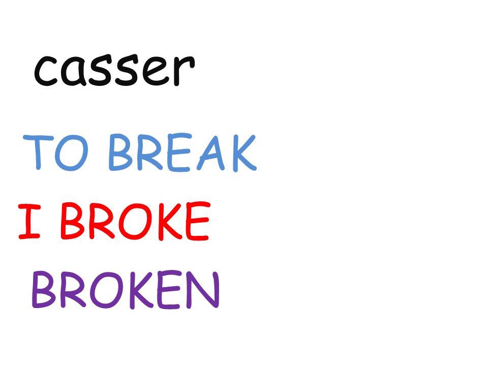 casser TO BREAK I BROKE BROKEN