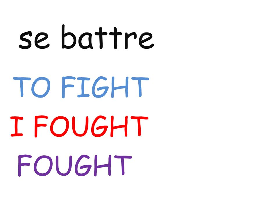 se battre TO FIGHT I FOUGHT FOUGHT