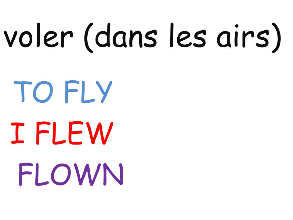 voler (dans les airs) TO FLY I FLEW FLOWN