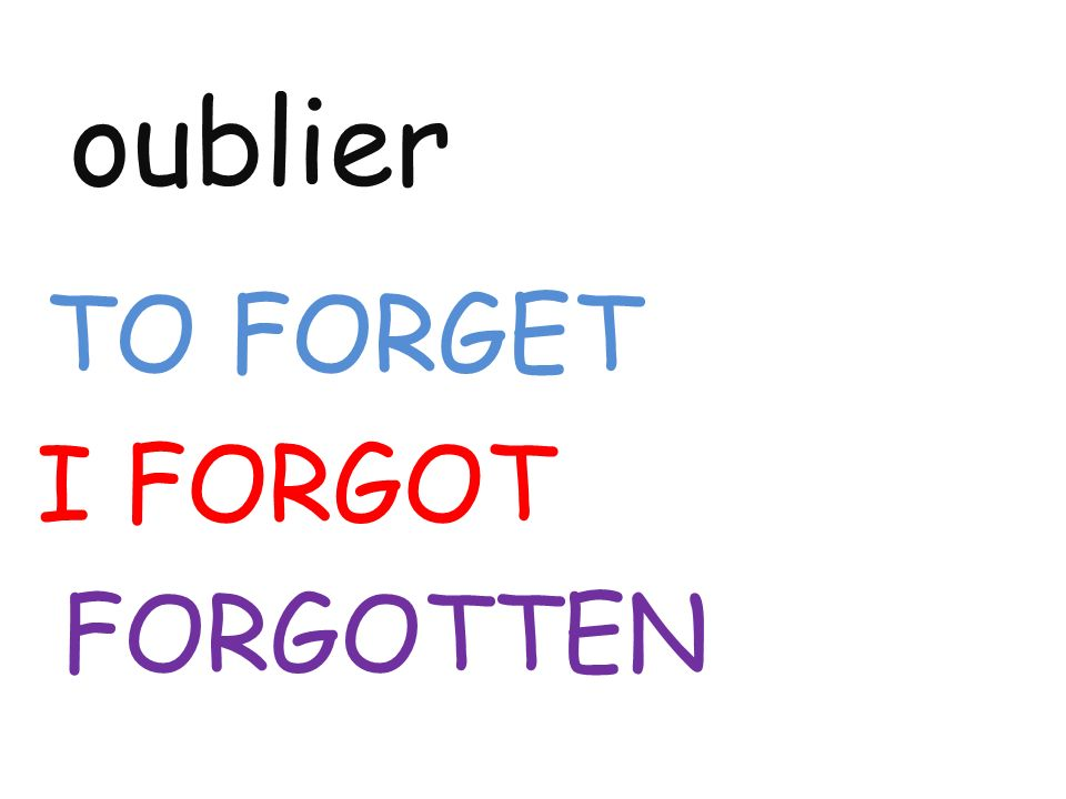 oublier TO FORGET I FORGOT FORGOTTEN