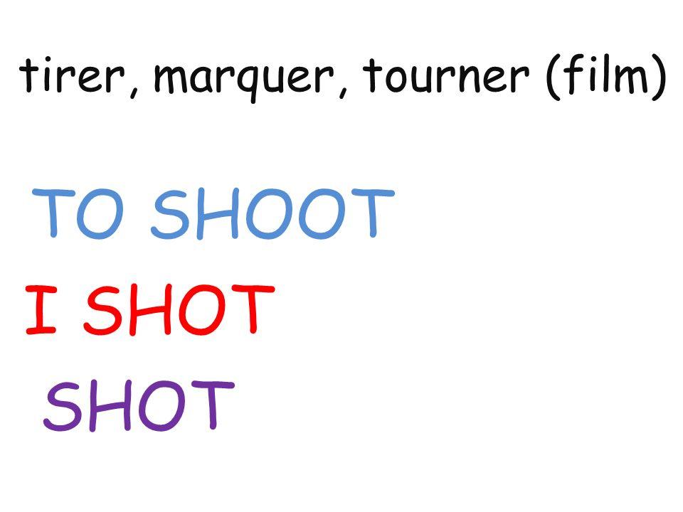 tirer, marquer, tourner (film) TO SHOOT I SHOT SHOT