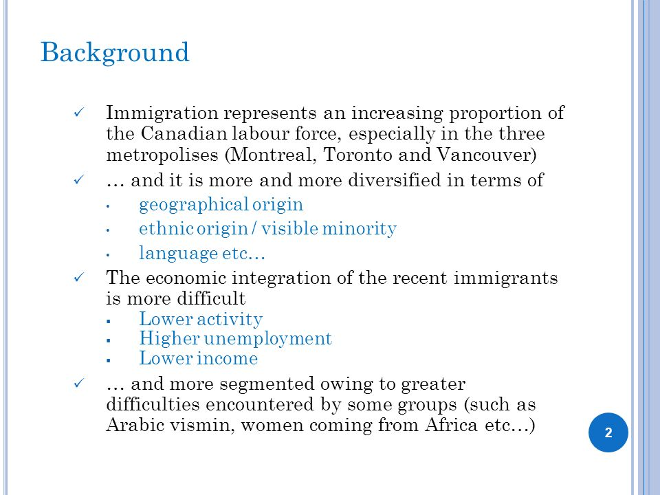 Background Immigration represents an increasing proportion of the Canadian labour force, especially in the three metropolises (Montreal, Toronto and V