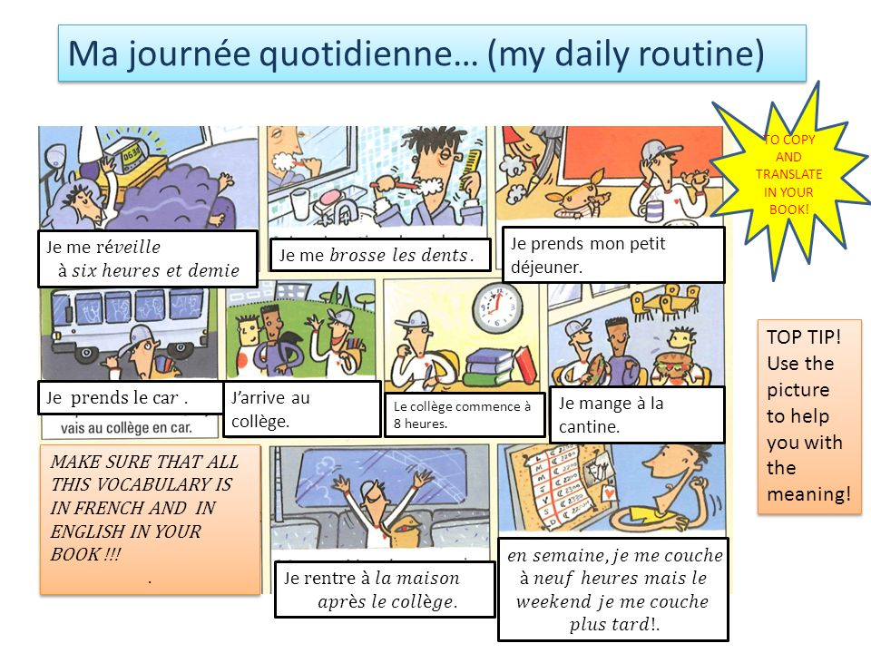 Ma journée quotidienne… (my daily routine) TO COPY AND TRANSLATE IN YOUR BOOK.