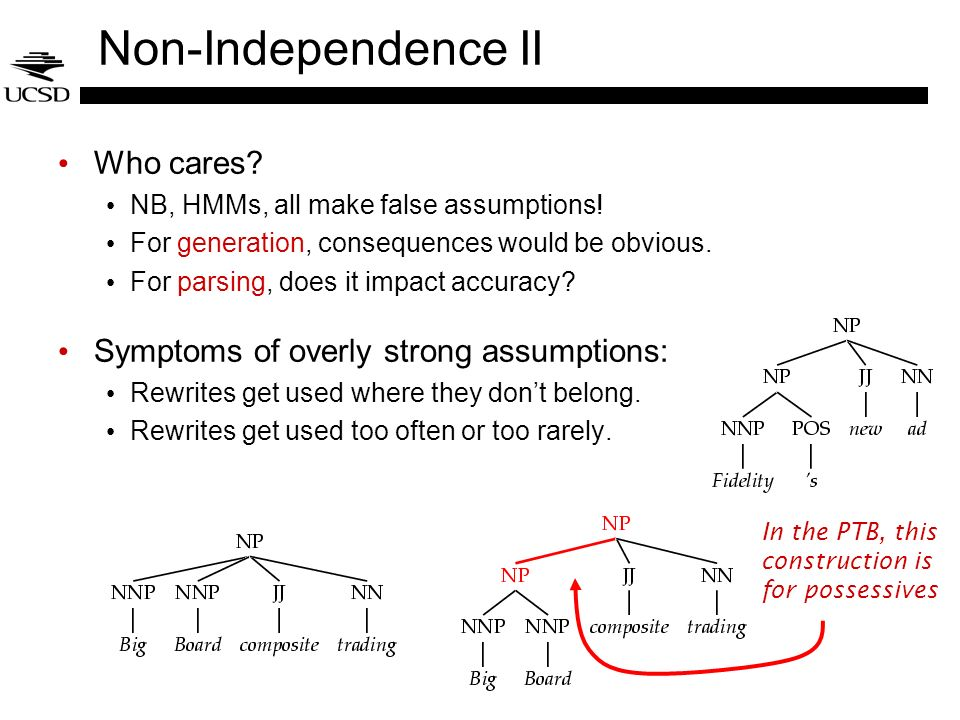 Non-Independence II Who cares? NB, HMMs, all make false assumptions! For generation, consequences would be obvious. For parsing, does it impact accura