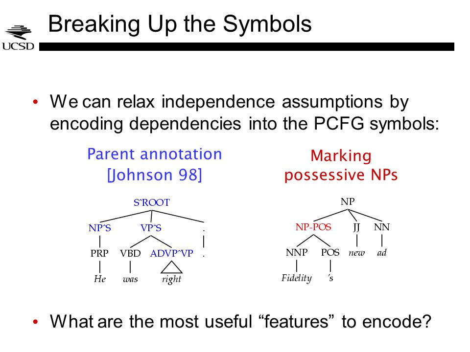 Breaking Up the Symbols We can relax independence assumptions by encoding dependencies into the PCFG symbols: What are the most useful features to enc