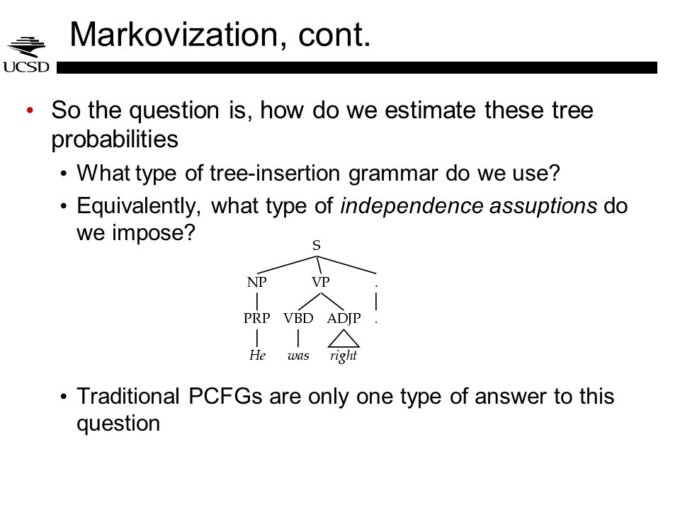 Markovization, cont. So the question is, how do we estimate these tree probabilities What type of tree-insertion grammar do we use? Equivalently, what
