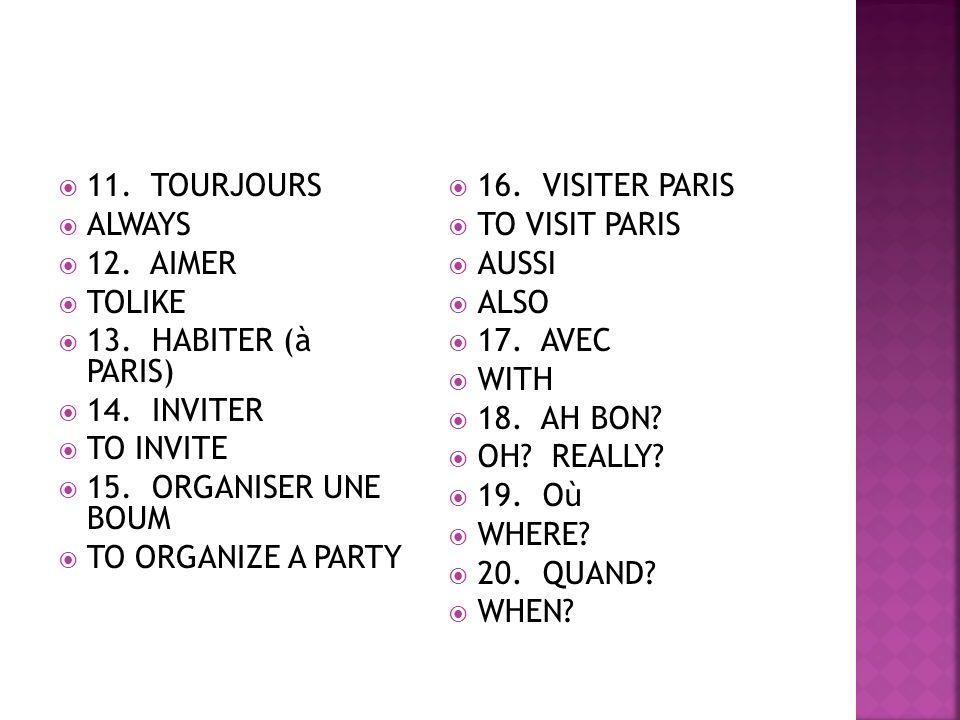 11. TOURJOURS ALWAYS 12. AIMER TOLIKE 13. HABITER (à PARIS) 14.