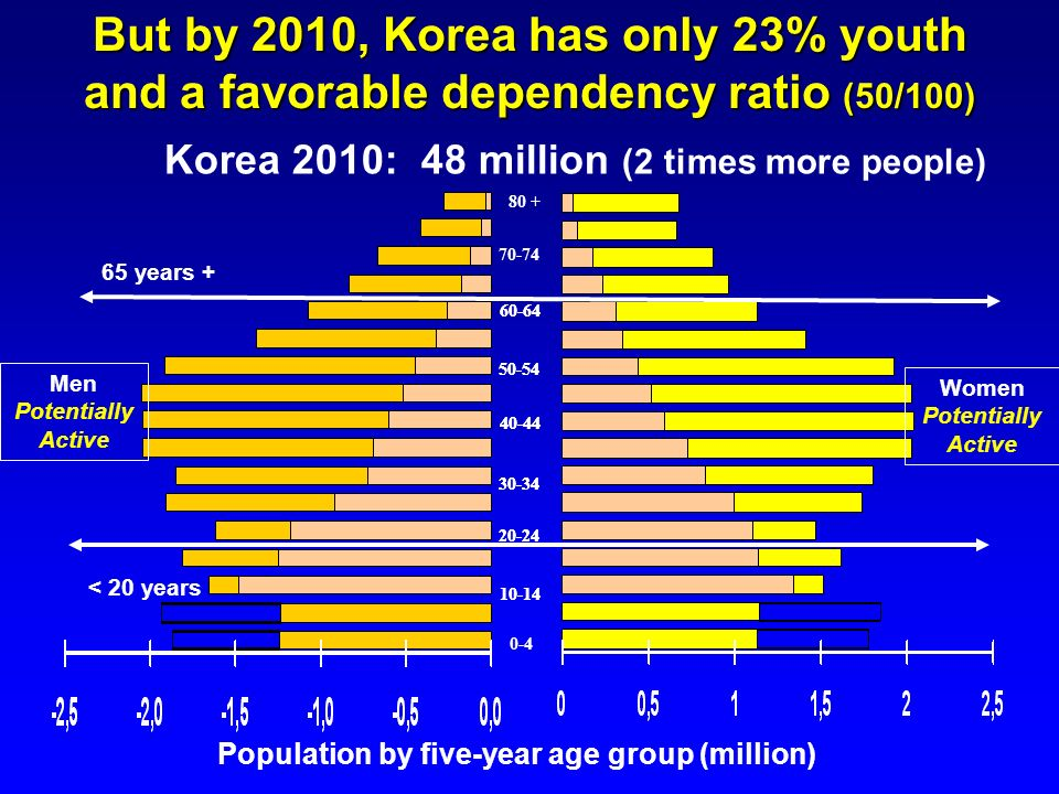 10-14 20-24 70-74 50-54 60-64 40-44 30-34 0-4 80 + Korea 2010: 48 million (2 times more people) But by 2010, Korea has only 23% youth and a favorable