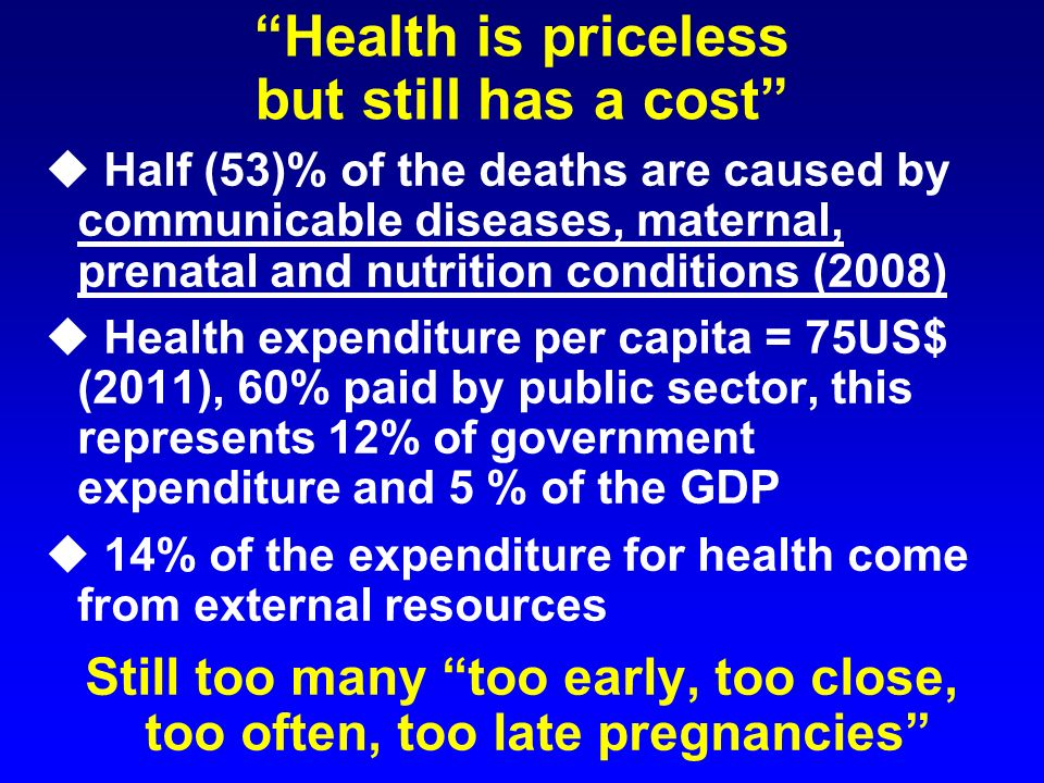 Health is priceless but still has a cost u Half (53)% of the deaths are caused by communicable diseases, maternal, prenatal and nutrition conditions (