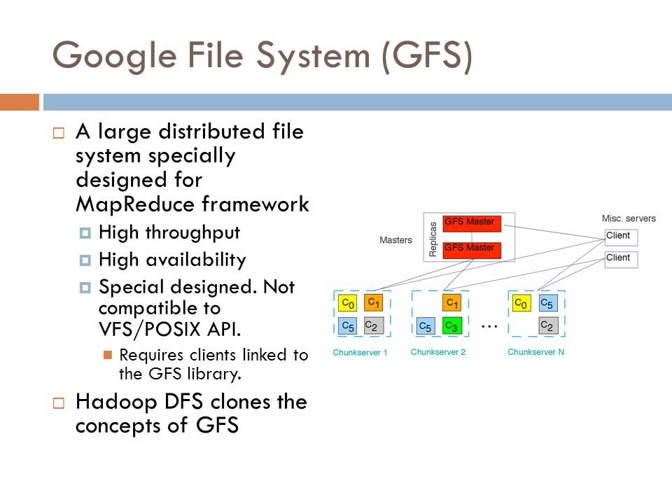 Google File System (GFS) A large distributed file system specially designed for MapReduce framework High throughput High availability Special designed