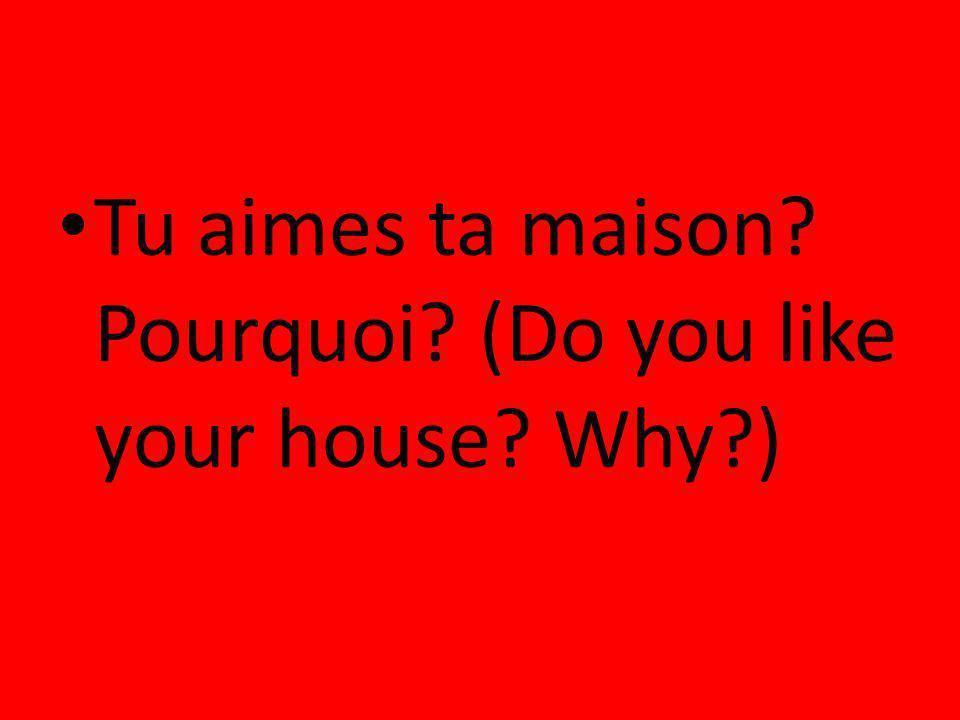 Tu aimes ta maison? Pourquoi? (Do you like your house? Why?)