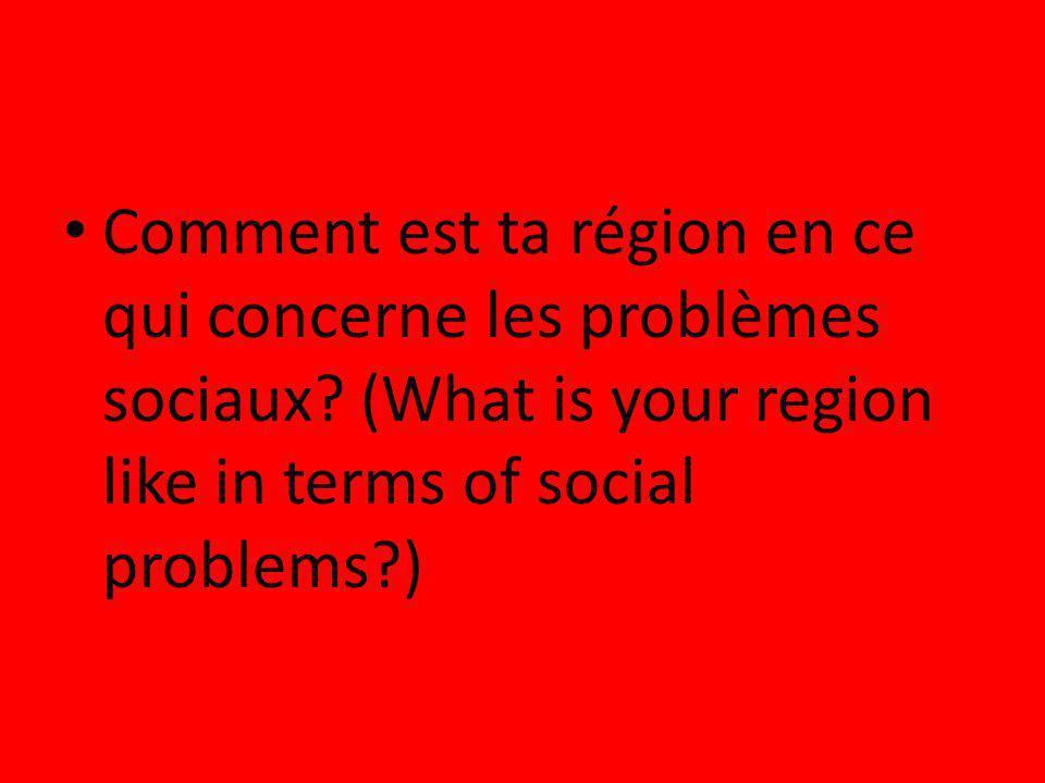 Comment est ta région en ce qui concerne les problèmes sociaux? (What is your region like in terms of social problems?)