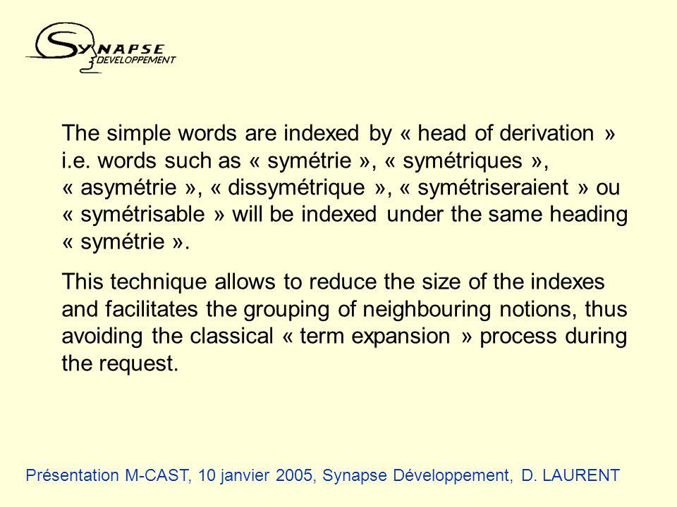 Présentation M-CAST, 10 janvier 2005, Synapse Développement, D. LAURENT The simple words are indexed by « head of derivation » i.e. words such as « sy