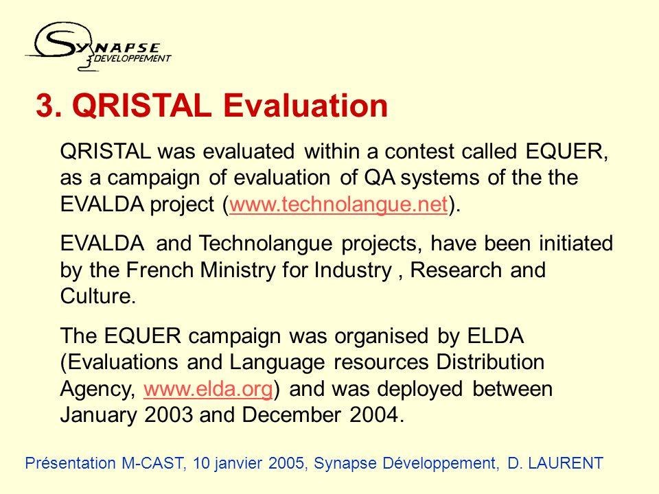 Présentation M-CAST, 10 janvier 2005, Synapse Développement, D. LAURENT 3. QRISTAL Evaluation QRISTAL was evaluated within a contest called EQUER, as