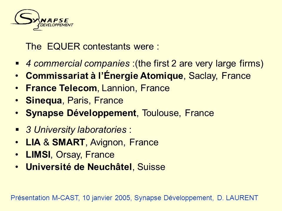 Présentation M-CAST, 10 janvier 2005, Synapse Développement, D. LAURENT The EQUER contestants were : 4 commercial companies :(the first 2 are very lar