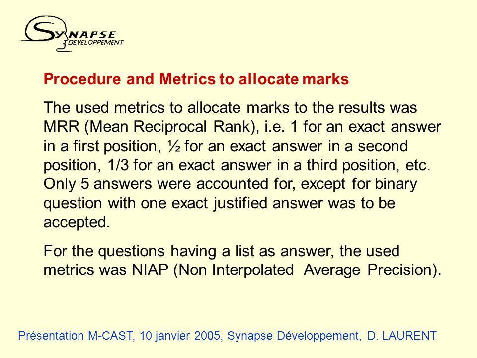 Présentation M-CAST, 10 janvier 2005, Synapse Développement, D. LAURENT Procedure and Metrics to allocate marks The used metrics to allocate marks to