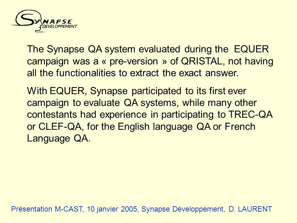 Présentation M-CAST, 10 janvier 2005, Synapse Développement, D. LAURENT The Synapse QA system evaluated during the EQUER campaign was a « pre-version