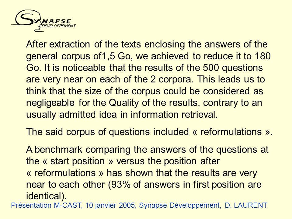 Présentation M-CAST, 10 janvier 2005, Synapse Développement, D. LAURENT After extraction of the texts enclosing the answers of the general corpus of1,