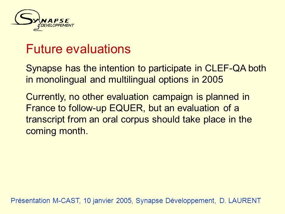 Présentation M-CAST, 10 janvier 2005, Synapse Développement, D. LAURENT Future evaluations Synapse has the intention to participate in CLEF-QA both in