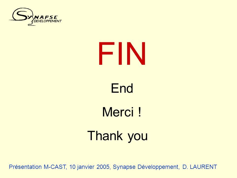 Présentation M-CAST, 10 janvier 2005, Synapse Développement, D. LAURENT FIN End Merci ! Thank you