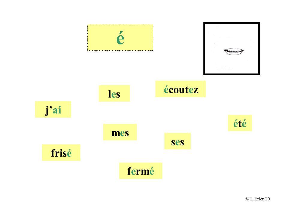 es, er, ez, et, ai mouth hardly open, tongue quite high at back © L.Erler 2010 é é