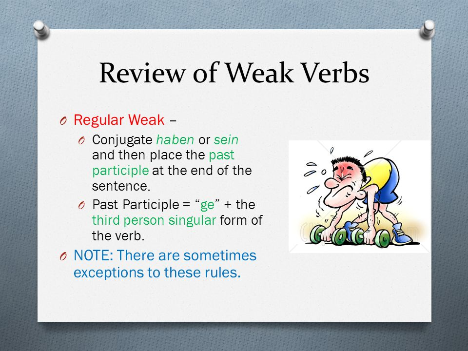 Review of Weak Verbs O Regular Weak – O Conjugate haben or sein and then place the past participle at the end of the sentence. O Past Participle = ge