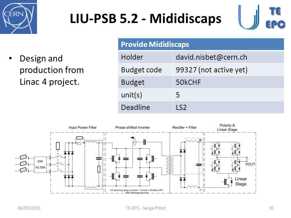 LIU-PSB 5.2 - Mididiscaps Design and production from Linac 4 project.