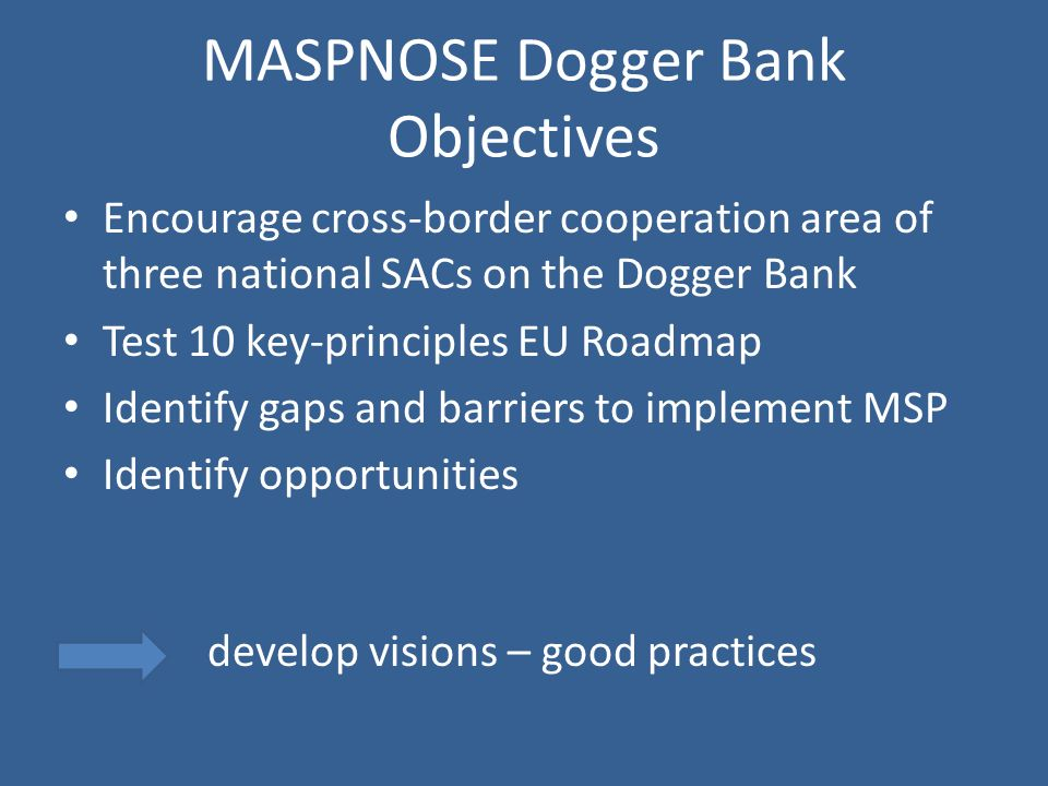 MASPNOSE Dogger Bank Objectives Encourage cross-border cooperation area of three national SACs on the Dogger Bank Test 10 key-principles EU Roadmap Identify gaps and barriers to implement MSP Identify opportunities develop visions – good practices