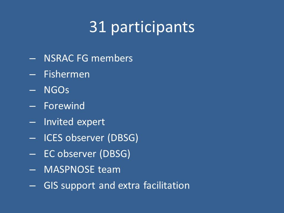 31 participants – NSRAC FG members – Fishermen – NGOs – Forewind – Invited expert – ICES observer (DBSG) – EC observer (DBSG) – MASPNOSE team – GIS support and extra facilitation
