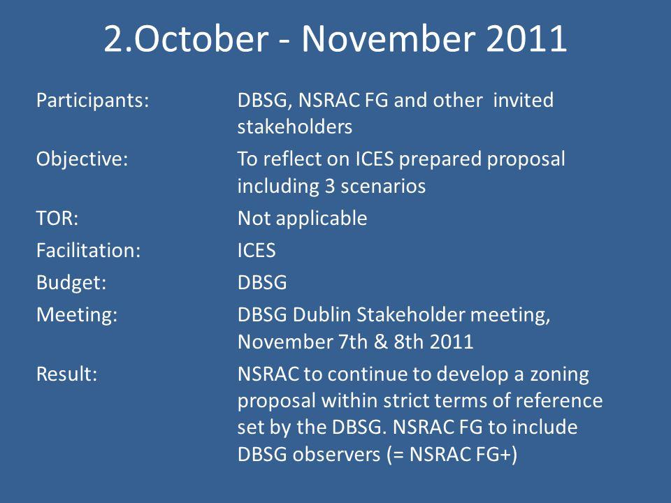 2.October - November 2011 Participants: DBSG, NSRAC FG and other invited stakeholders Objective: To reflect on ICES prepared proposal including 3 scenarios TOR:Not applicable Facilitation: ICES Budget:DBSG Meeting:DBSG Dublin Stakeholder meeting, November 7th & 8th 2011 Result:NSRAC to continue to develop a zoning proposal within strict terms of reference set by the DBSG.