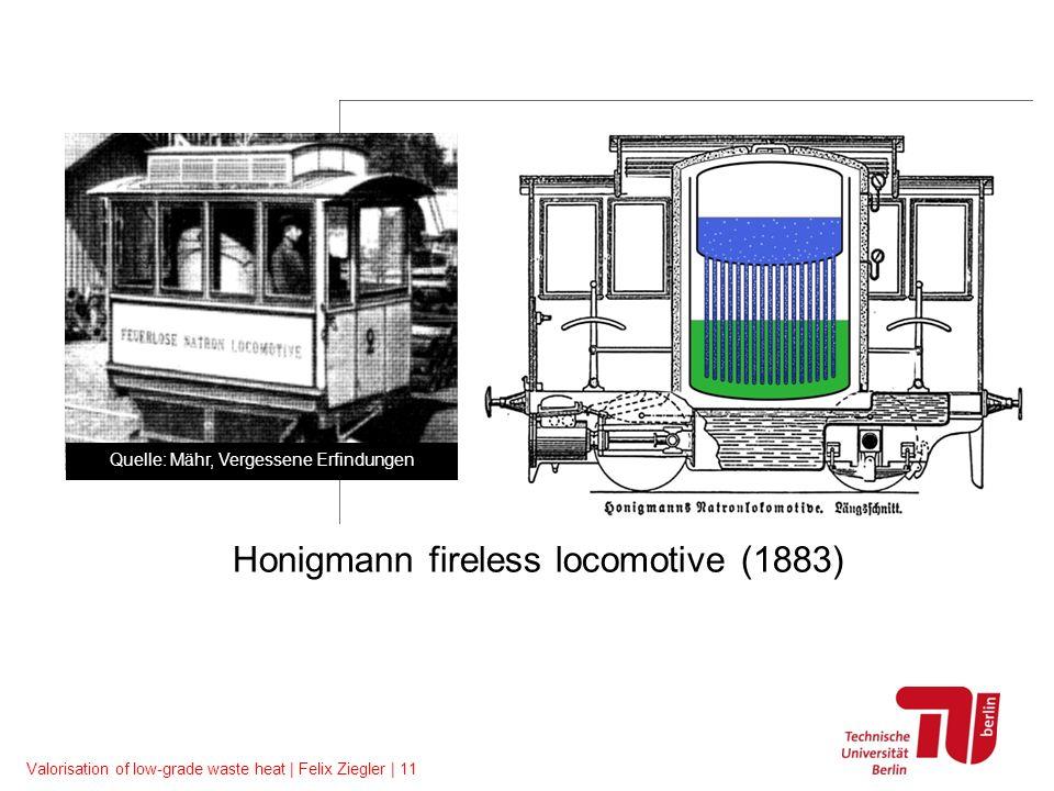 Valorisation of low-grade waste heat | Felix Ziegler | 11 Honigmann fireless locomotive (1883) Quelle: Mähr, Vergessene Erfindungen