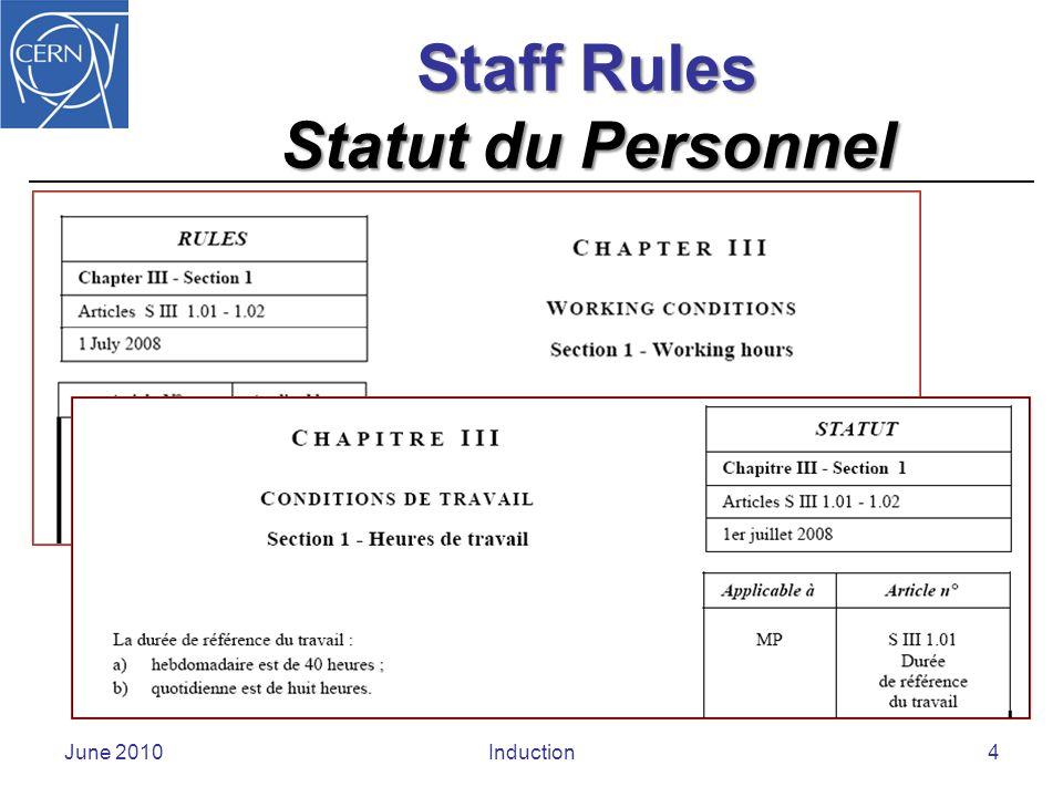 Staff Regulations Règlement du Personnel June 2010Induction5