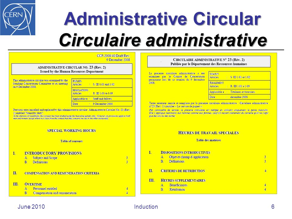 Operational Circular Circulaire opérationnelle June 2010Induction7
