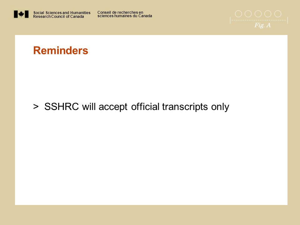 Social Sciences and Humanities Research Council of Canada Conseil de recherches en sciences humaines du Canada Fig. A Reminders >SSHRC will accept off