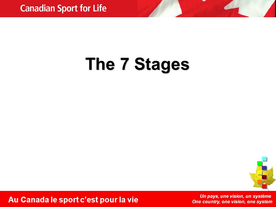 Un pays, une vision, un système One country, one vision, one system Au Canada le sport cest pour la vie The 7 Stages