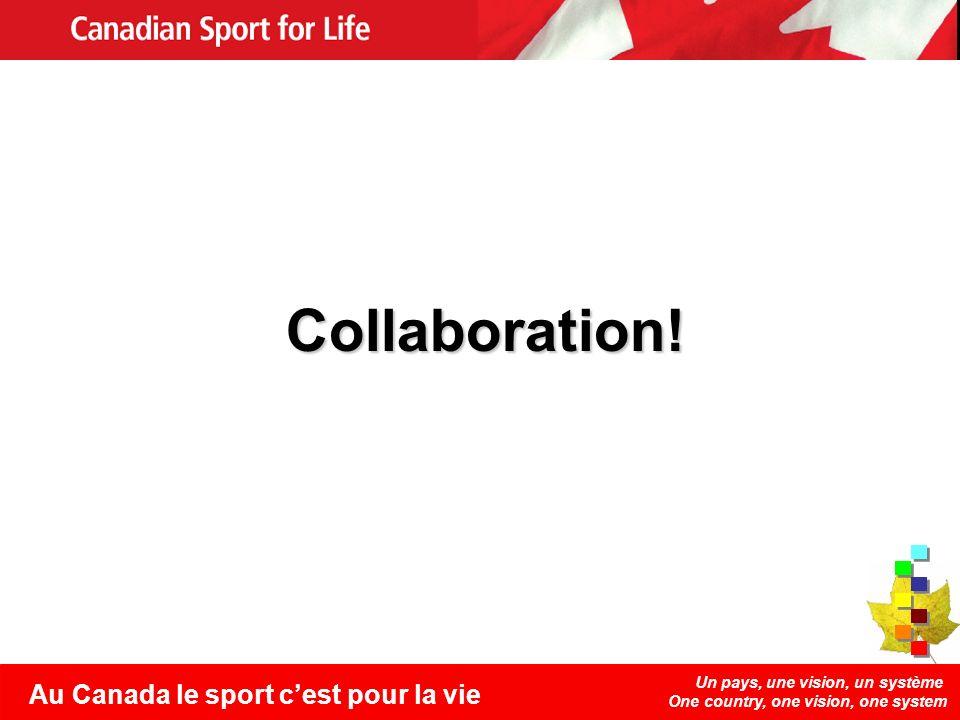 Un pays, une vision, un système One country, one vision, one system Au Canada le sport cest pour la vie Collaboration!