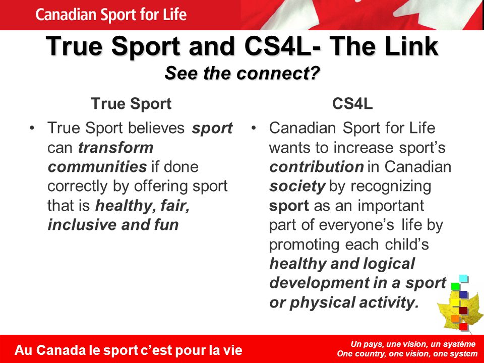 Un pays, une vision, un système One country, one vision, one system Au Canada le sport cest pour la vie True Sport and CS4L- The Link See the connect.