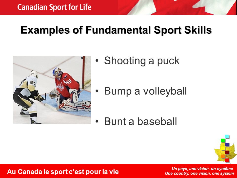 Un pays, une vision, un système One country, one vision, one system Au Canada le sport cest pour la vie Examples of Fundamental Sport Skills Shooting